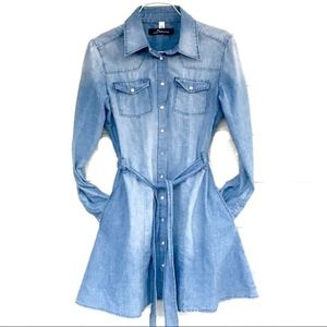 DOMINO DOLLHOUSE DENIM BUTTON DOWN DRESS
